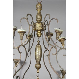 Scandinavian Wrought Iron and Giltwood Chandelier Preview