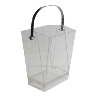 Modern Lucite Magazine Holder/ Waste Basket For Sale