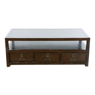 Crate & Barrel Coffee Table with Drawers For Sale