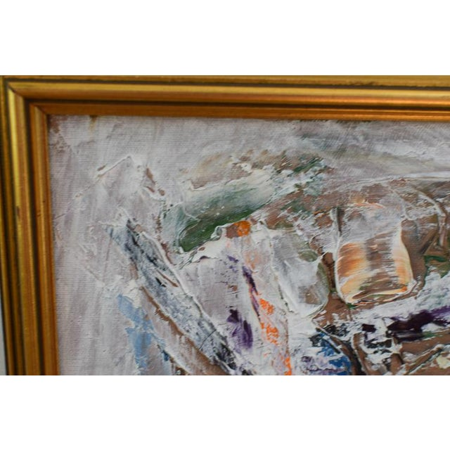 Blue Neo Impressionism Abstract Signed Oil Painting For Sale - Image 8 of 10