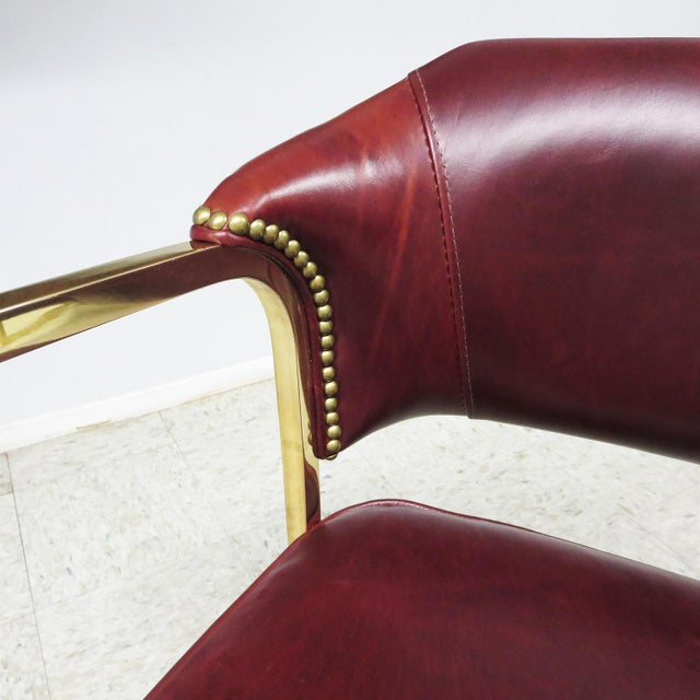 Art Deco - Mid Century Lounge Chairs – Polished Brass – Leather For Sale - Image 4 of 9
