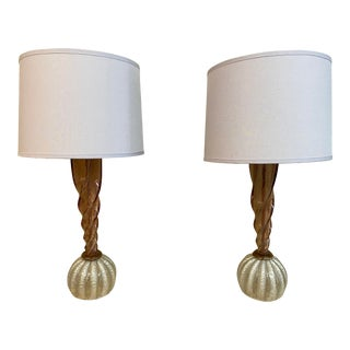 Murano Glass Rose Table Lamps, a Pair For Sale