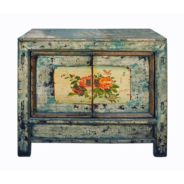 Chinese Floral Cabinet in Crackle Blue - Image 2 of 8