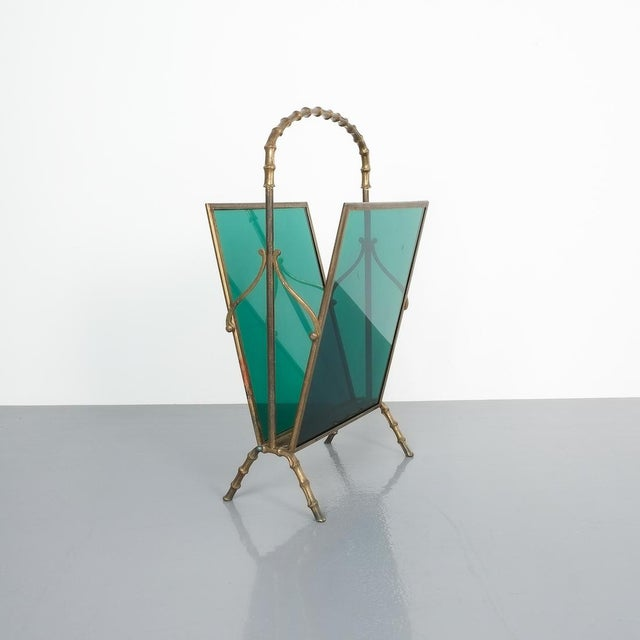 Mid-Century Modern Maison Baguès Faux Bamboo Green Lucite Magazine Rack For Sale - Image 3 of 8