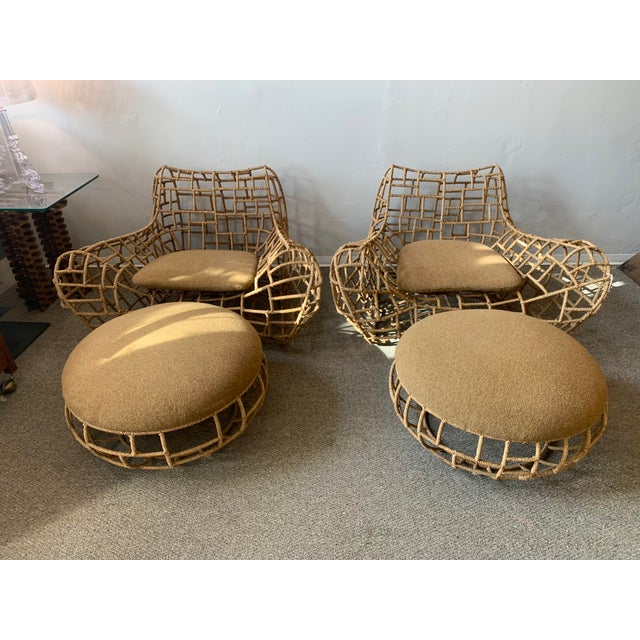 1970s Vintage Marine Rope Club Chairs and Ottomans - 4 Pieces For Sale - Image 12 of 12