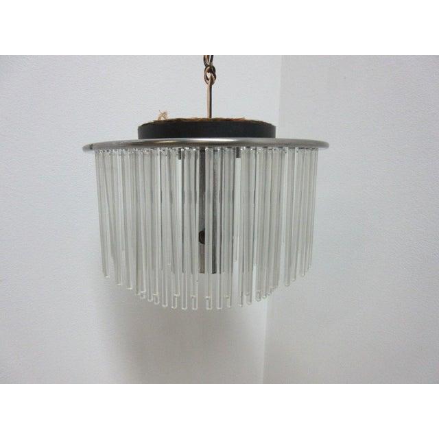 Transparent Mid-Century Lightolier Swizzle Stick Hanging Chandelier For Sale - Image 8 of 9