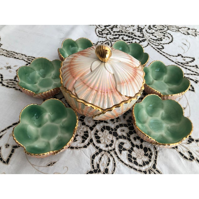 Art Nouveau 1940s Art Nouveau Aleluia Aveiro Portugal 8-Piece Coral Faience Table Set For Sale - Image 3 of 13