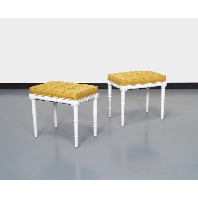 Vintage Faux Bamboo Stools For Sale - Image 4 of 8