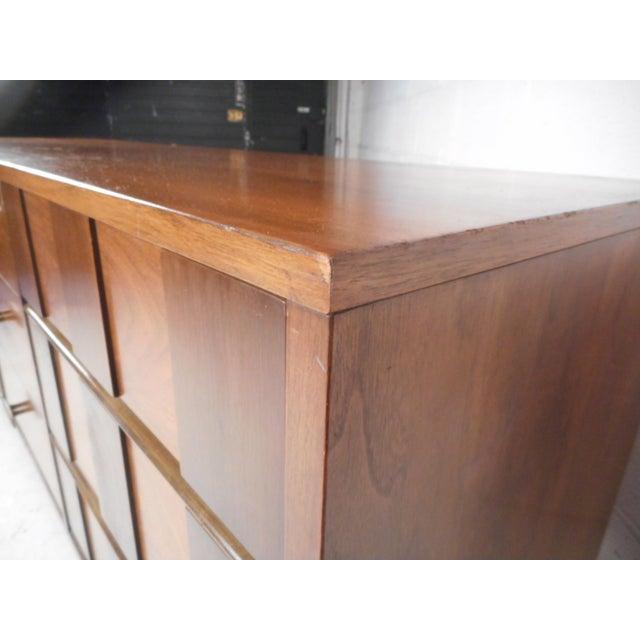 Brass Mid-Century Modern Oak and Walnut Dresser by Bassett For Sale - Image 7 of 9