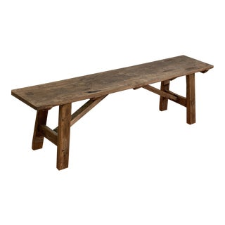 Reclaimed Antique Wood Wide One Board Top Bench For Sale