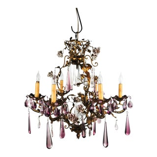Italian Brass & Amethyst Crystal 6-Light Chandelier
