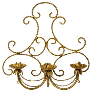 Italian Gilded Tole 3-Candle Wall Sconce Preview