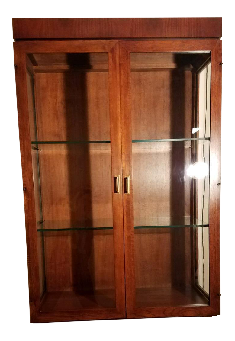 Founders Furniture Walnut U0026 Glass Wall Hung Display Cabinet   Image 1 Of 10