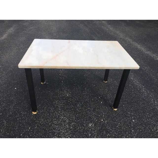Mid-Century Vintage Marble and Wrought Iron End Table For Sale In Chicago - Image 6 of 6