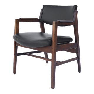 1950s Mid Century Modern Danish Black Leather and Walnut Chair