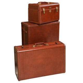 Fine Vintage Samsonite Deco Leather Three Piece Suitcase Luggage Suite