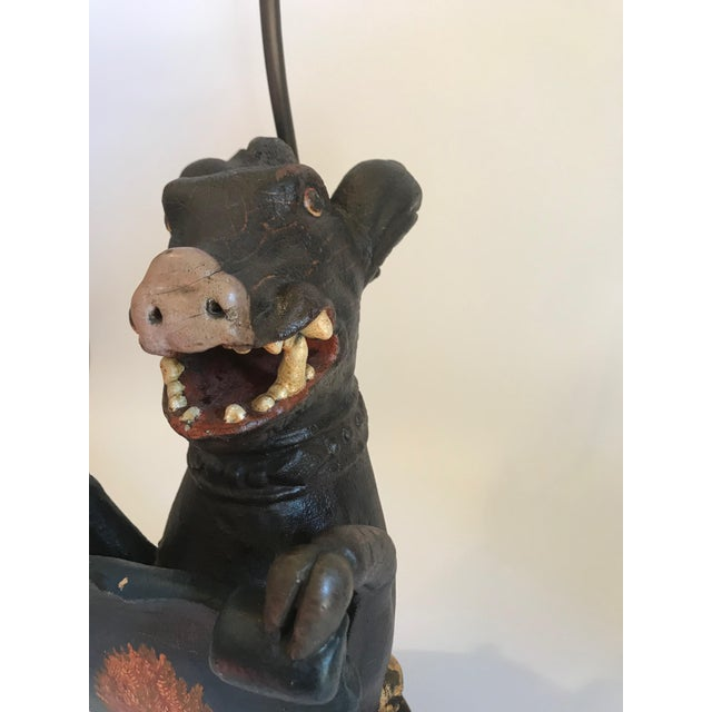 Antique Carved Wood Wild Boar Figure Holding a Painted Shield Lamp For Sale In Nashville - Image 6 of 13