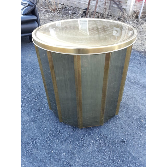 1970s Mastercraft Brass Octagonal Shape Faceted Dining Table For Sale - Image 5 of 13