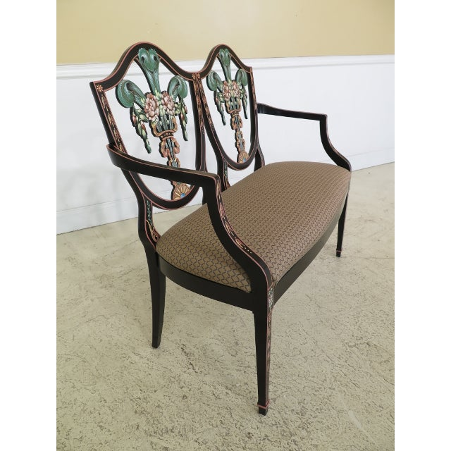 Italian Made Hepplewhite Paint Decorated Double Settee For Sale - Image 4 of 13