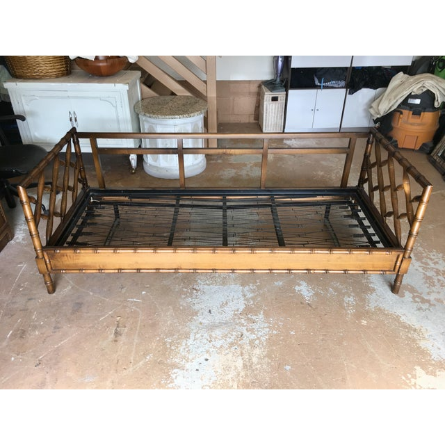 Metal 1970s Boho Chic Rollout Faux Bamboo Twin Trundle Bedframe For Sale - Image 7 of 13