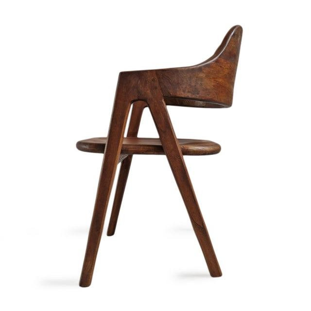 Mid-Century Modern Elm Wood Deco Dining Chair For Sale - Image 3 of 10
