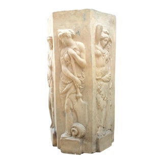 Art Nouveau Carved Sandstone Vessel Greek Goddesses from Beverly Wilshire Hotel 1920s