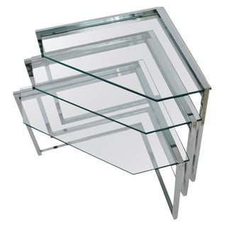 Chrome & Glass Nesting Tables - Set of 3 For Sale
