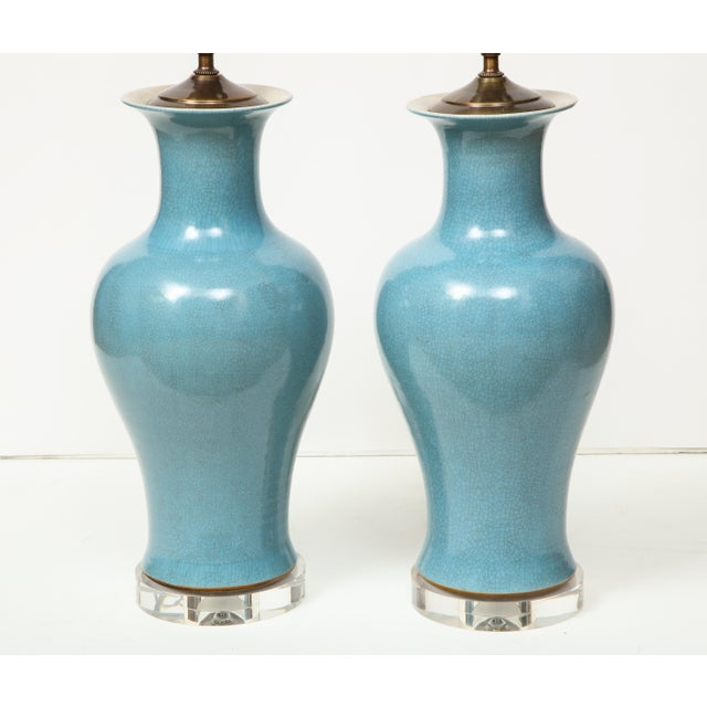 Blue Crackle Glazed Blue Vase Lamps - A Pair For Sale - Image 8 of 13