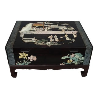Vintage Oriental Asian Black Chinoiserie Coffee Table Storage Box For Sale