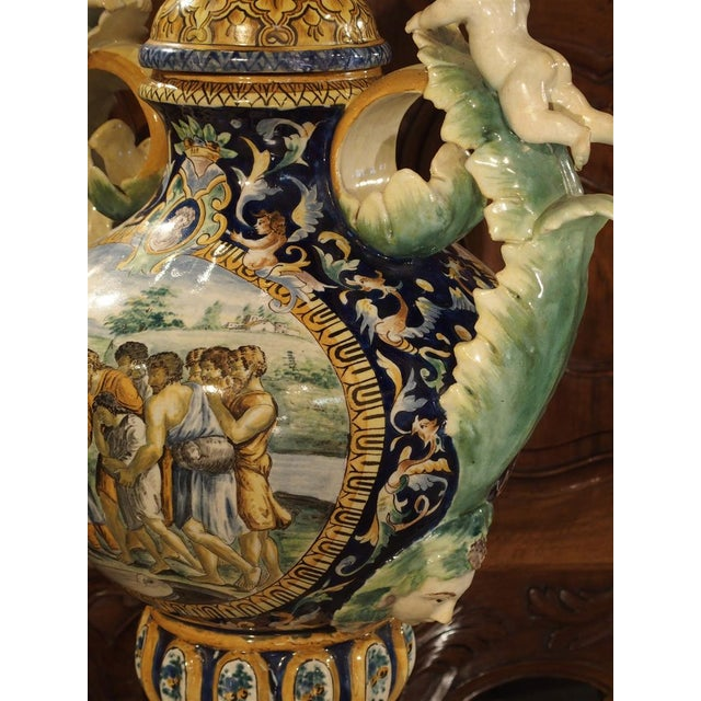 Gold A Large Painted Italian Majolica Urn Circa 1885 For Sale - Image 8 of 12