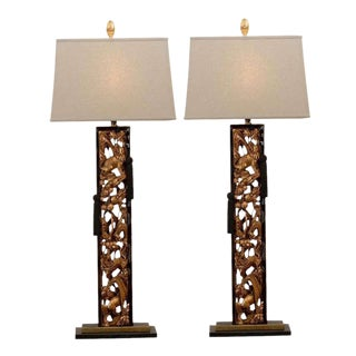Spectacular Pair of Carved Asian Lamps For Sale