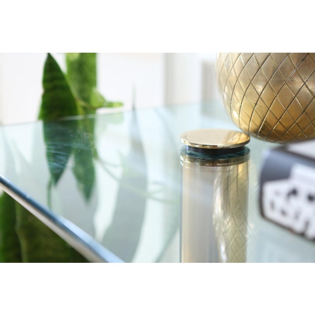 Mid-Century Pace Collection Glass Console Table - Image 7 of 8