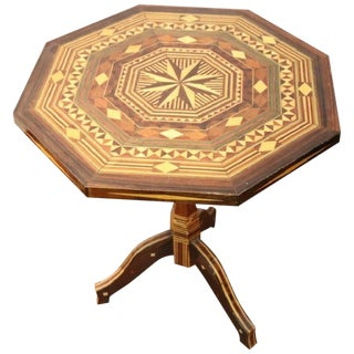 20th Century Italian Inlaid Wood Side Table For Sale