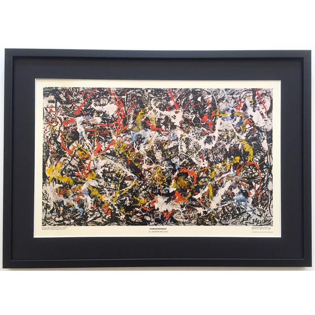 """Jackson Pollock Rare Vintage 1964 Mid Century Modern Framed Abstract Expressionist Lithograph Print """" Convergence """" 1952 For Sale - Image 13 of 13"""
