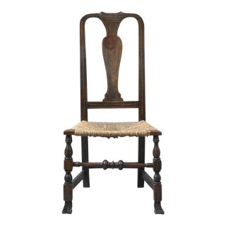 Early Queen Anne Grain Painted Spanish Foot Side Chair