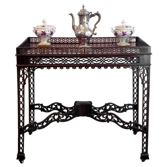 This exquisite Mahogany George III Chinese Chippendale Tea Table was the equivalent of a modern day coffee table. The...