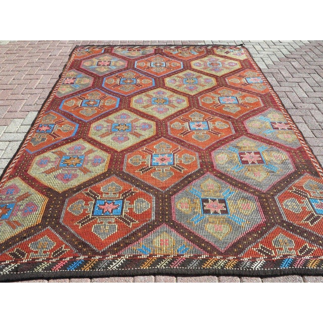 This beauty from Southern of Turkey Antalya touros mountain nomads tribal kilim. These nomads weave big designs with...