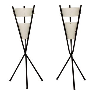 Pair of Table Lamps With Tripod Base For Sale