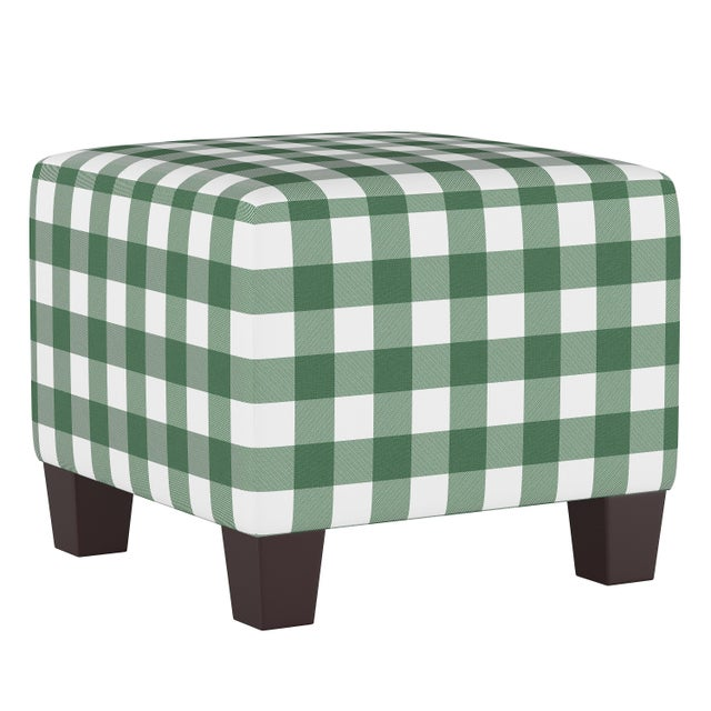 Spritely Home Square Ottoman in Classic Gingham Evergreen Oga For Sale - Image 4 of 5