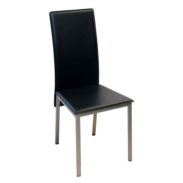 Sleek mid century style black chairs with an aluminum frame. Made by Coaster Company of America. Priced as a set.