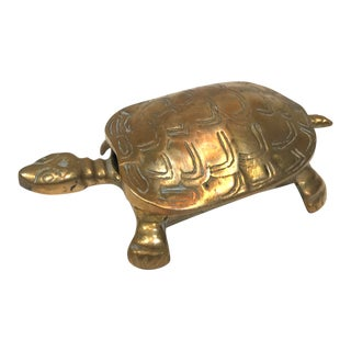 Vintage Mid-Century Brass Turtle Box For Sale