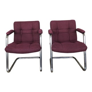 Mid Century Chromcraft Chrome Tubular Cantilever Arm Chairs- A Pair For Sale