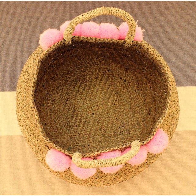 Double Woven Sea Grass Pastel Pink Pom Poms Belly Basket For Sale In San Diego - Image 6 of 7