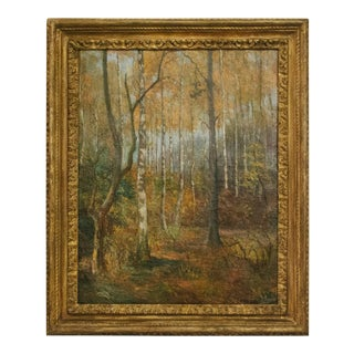 20th Century Oil on Canvas of Trees in Giltwood Frame From Belgium For Sale