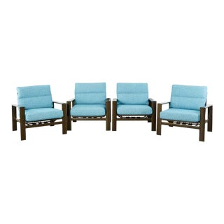John Caldwell Patio Rocking Lounge Chairs - Set of 4 For Sale