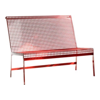 Modernist Steel Bench With Back Custom Made by Rehab Vintage For Sale
