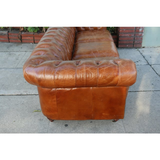 Modern Distressed Leather Tufted Chesterfield Sofa For Sale - Image 9 of 13