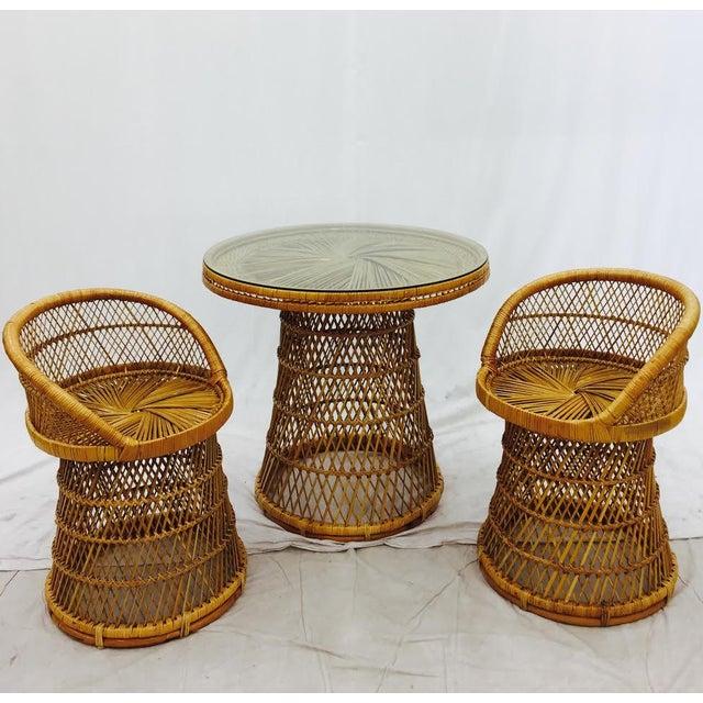 Cottage Vintage Boho Chic Wicker Bistro Set For Sale - Image 3 of 11