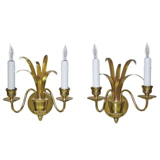 Boulanger Wheat Motif Two-Arm Brass Wall Sconces - a Pair