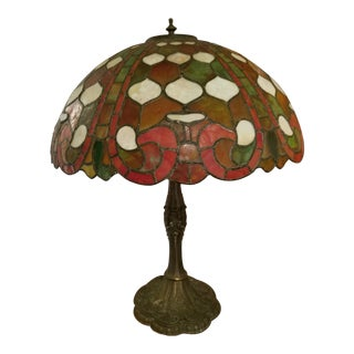 1920's Tiffany Style Stained Glass Lamp For Sale